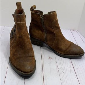 Born oiled suede zip up boots